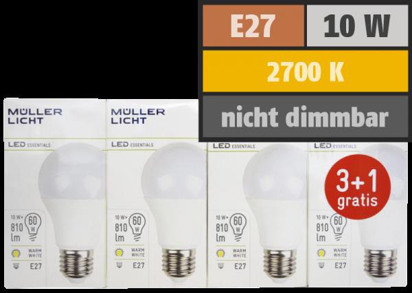 LED Glühlampe, E27, 10W, 810lm, 2700K, warmweiß, 3+1 Set
