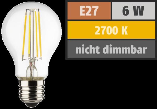 LED Filament Glühlampe, E27, 6W, 810lm, 2700K, warmweiß