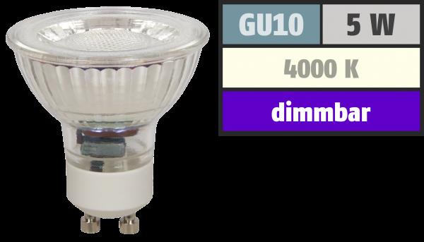 LED-Strahler McShine MCOB GU10, 5W, 350 lm, neutralweiß, dimmbar