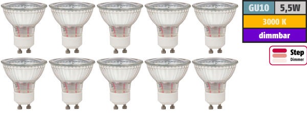 LED-Strahler McShine LS-450 GU10, 5,5W, 470lm, 3000K, step dimmbar, 10er-Pack