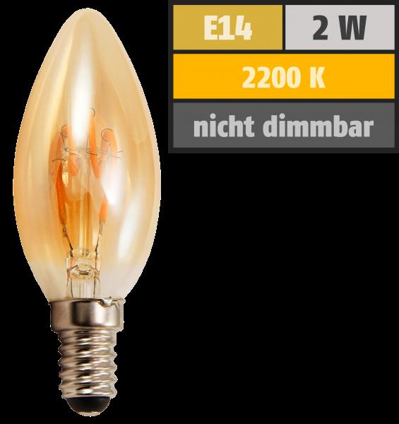 LED Filament Kerzenlampe McShine Retro E14, 2W, 150lm, warmweiß, goldenes Glas