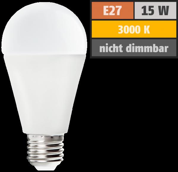 LED Glühlampe McShine SuperBright E27, 15W, 2500lm, 270°, 3000K, warmweiß