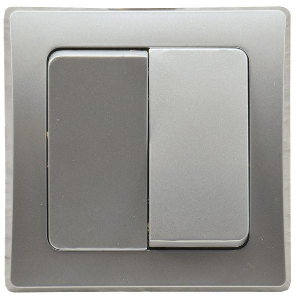 DELPHI Serien-Schalter 2-fach 250V~/ 10A, inkl. Rahmen, UP, silber
