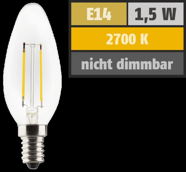 LED Filament Kerzenlampe, E14, 1,5W, 150lm, 2700K, warmweiß