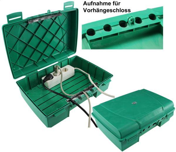 Wetterfeste Garten-Kabelbox, IP55 verschließbar, 35x24x12cm, grün