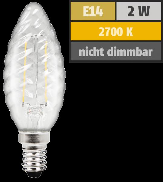 LED Filament Kerzenlampe gedreht McShine Filed, E14, 2W, 200 lm, warmweiß, klar