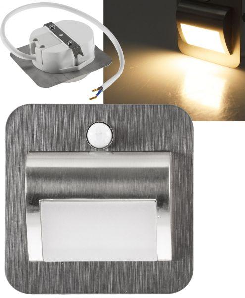 LED Einbauleuchte für UP-Dosen mit PIR Alu gebürstet 2W, 25lm, warmweiß
