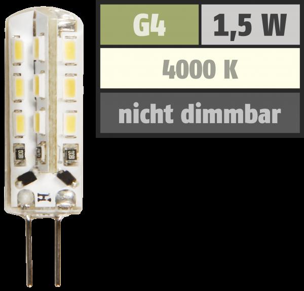 LED-Stiftsockellampe McShine Silicia, G4, 1,5W, 120 lm, neutralweiß