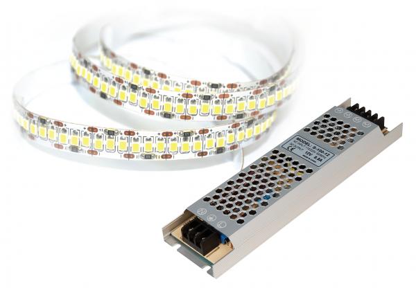 LED-Stripe SET, 204LED/m, 1700lm/m, 18W/m, warmweiß, 5m Rolle, incl. 100W Trafo