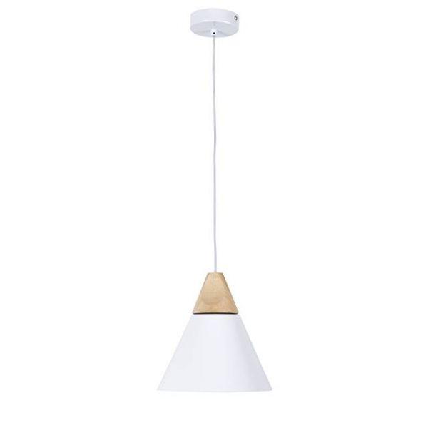 Klassische LED Hängeleuchte mit Aluminium-Holzschirm in Weiß