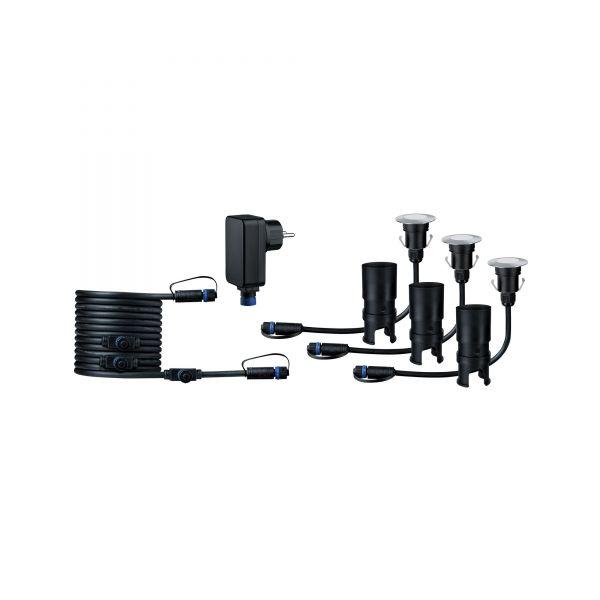 Paulmann Outdoor Plug & Shine Floor Mini Set IP65 3000K 3x2,5W 24V 55mm Silber