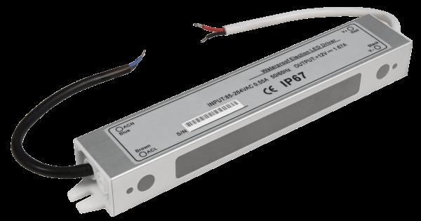 LED-Trafo McShine, elektronisch, IP67, 1-20W, Ein 85~264V, Aus 12V, wasserfest