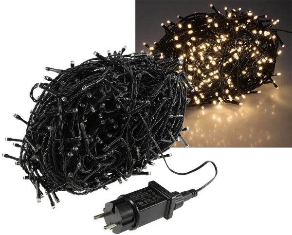 """LED Aussen-Lichterkette """"CT-ALK600"""" 60m warmweiß, Kabel schwarz, IP44, 600 LEDs"""