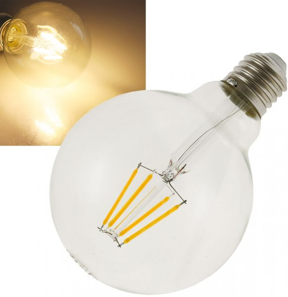 "LED Globelampe 95mm E27 ""Filament G95"" 3000k, 470lm, 230V/4W, warmweiß"