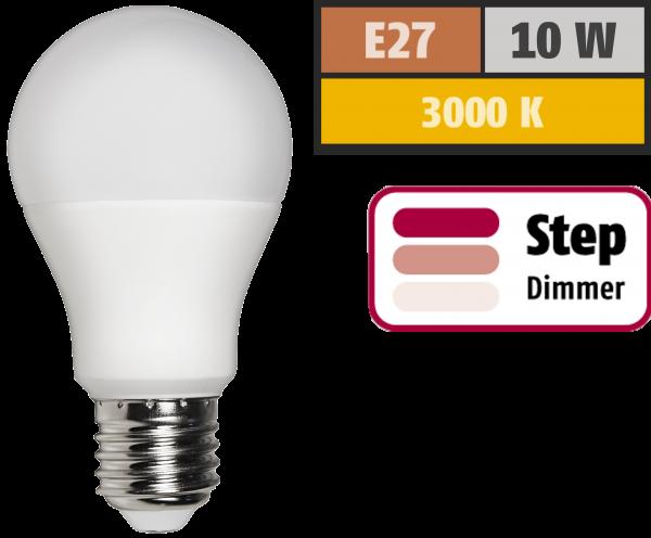 LED Glühlampe McShine, E27, 10W, 810 lm, 3000K, warmweiß, step dimmbar 100/50/10%