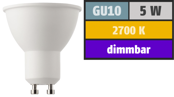 LED-Strahler, GU10, 5W, 345lm, 2700K, warmweiß, SWITCH DIM 100/55/15%