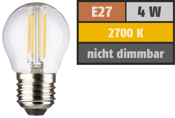 LED Filament Tropfenlampe, E27, 4W, 470lm, 2700K, warmweiß