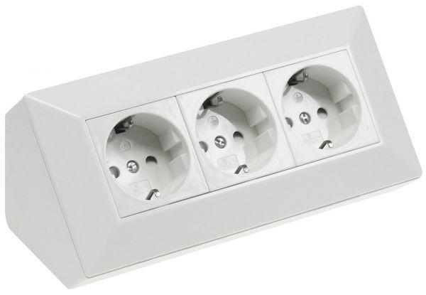 3-fach Steckdosenblock, weiß 250V~/ 16A, Aufbaumontage