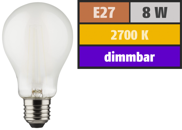 LED Filament Glühlampe, E27, 8W, 1055lm, 2700K, warmweiß, dimmbar, matt