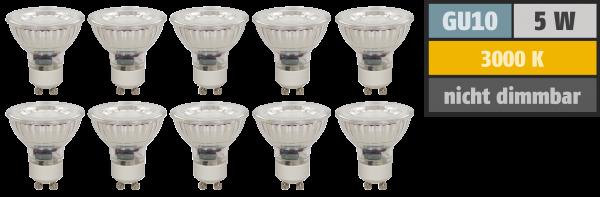LED-Strahler McShine MCOB GU10, 5W, 400 lm, warmweiß, 10er-Pack