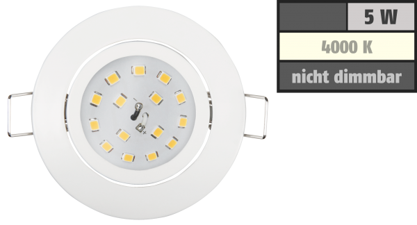 LED Einbauleuchte McShine Slim 82x28mm, 5W, 400lm, 4000K, weiß