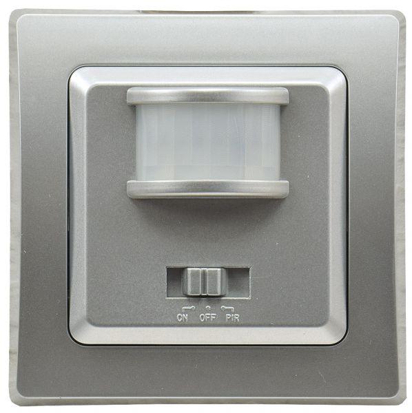 DELPHI Bewegungsmelder 160°, UP, silber 250V~, 400W, inkl. Rahmen, LED geeignet
