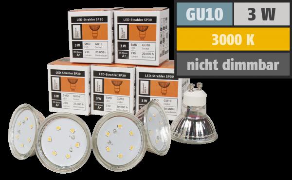 LED-Strahler McShine SP30-10, GU10, 3W, 230 lm, warmweiß, 10er-Pack