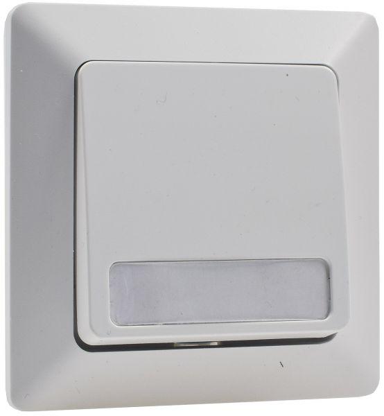 MILOS Taster mit Namensschild, weiß matt 0-250V~/ 10A, inkl. Rahmen, UP
