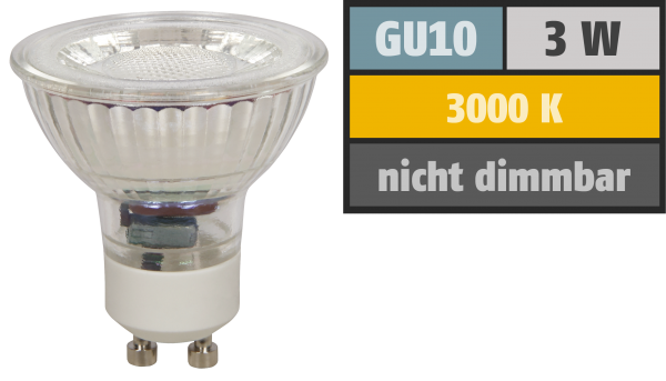 LED-Strahler McShine MCOB GU10, 3W, 250 lm, warmweiß