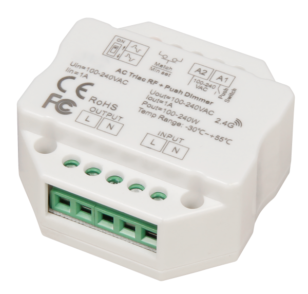 Tast-Dimmer McShine TD-24 LED-geeignet, max. 240W, 230V, passend für UP-Dose