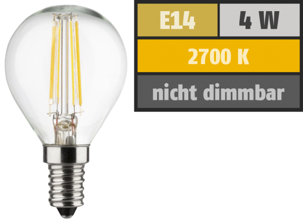 LED Filament Tropfenlampe, E14, 4W, 470lm, 2700K, warmweiß, 3er Set