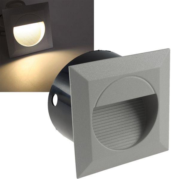 "LED Wandeinbauleuchte ""WEL Q14"" IP65, 14 LEDs, Aluminium, warmweiß"