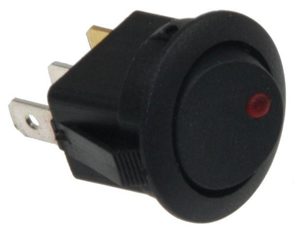 12V Schalter mit roter LED EIN / AUS, 16A, Ø 20mm Einbau