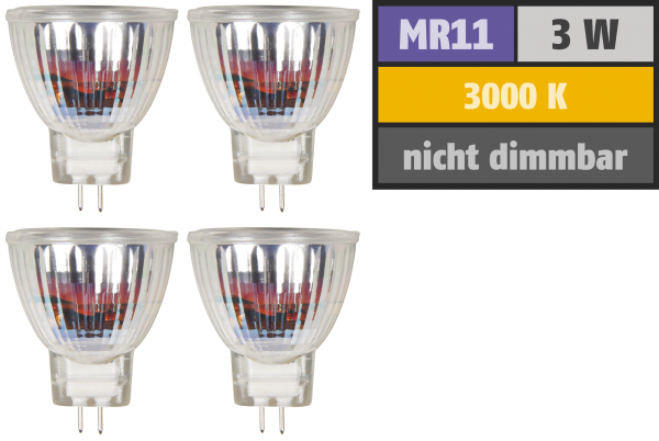 LED-Strahler McShine MCOB MR11 / G4, 3W, 250lm, warmweiß, 4er-Pack
