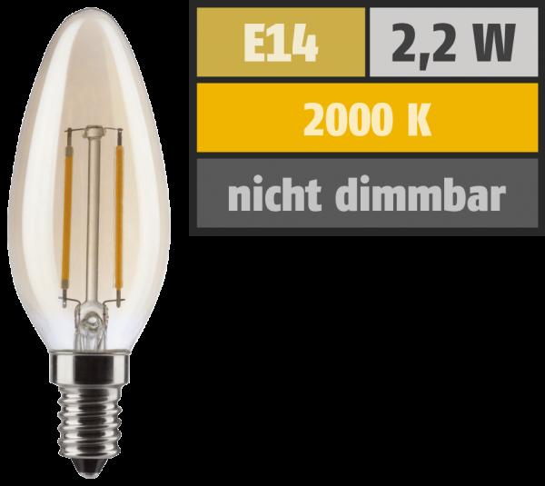 LED Filament Kerzenlampe, E14, 2,2W, 150lm, 2000K, warmweiß, gold