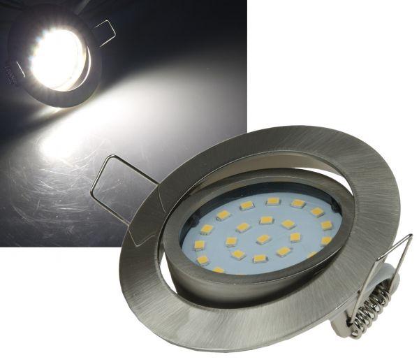 """LED-Einbauleuchte """"Flat-26"""" neutralweiß 80x26mm, 4W, 350lm, Edelstahl gebürstet"""