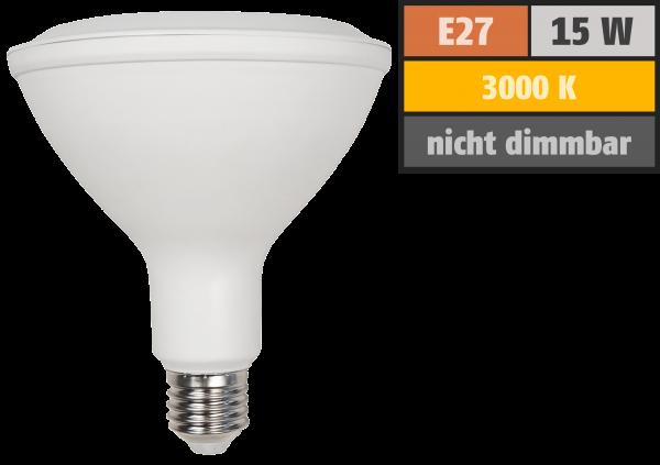LED-Strahler McShine, E27, PAR38, 15W, 1.200 lm, 45°, 3000K, warmweiß