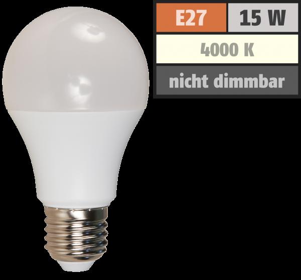 LED Glühlampe McShine, E27, 15W, 1250lm, 220°, 4000K, neutralweiß, Ø60x118mm
