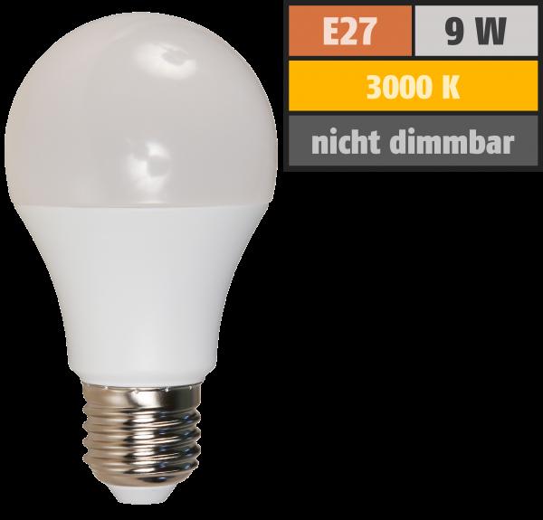 LED Glühlampe McShine, E27, 9W, 850lm, 240°, 3000K, warmweiß, Ø60x109mm