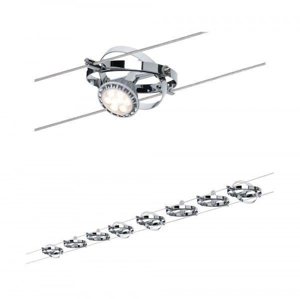Paulmann Seilsystem Cardan Chrom matt mit 8 Spots ohne Leuchtmittel, max. 10W GU5,3