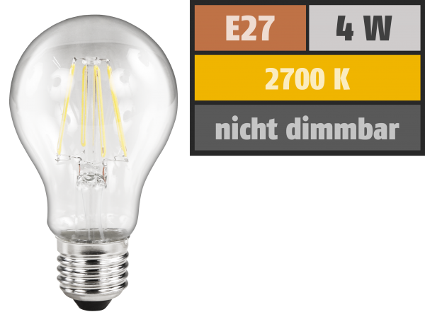 LED Filament Glühlampe McShine Filed, E27, 4W, 470lm, warmweiß, klar