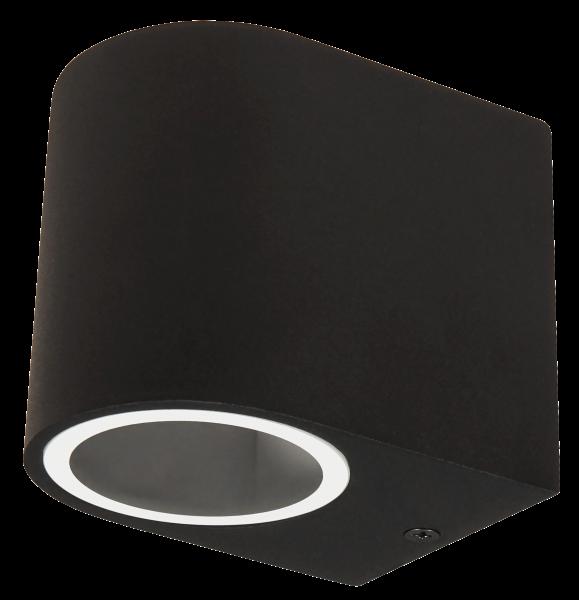 Wandleuchte McShine Oval-A schwarz, IP44, 1x GU10, Aluminium Gehäuse