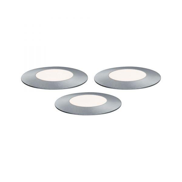 Paulmann Outdoor Plug & Shine Floor Mini Erg. Set IP65 4000K 3x2,5W 24V 55mm Silber