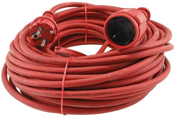 Schutzkontakt-Verlängerung, 25m, rot H05RR-F3G 1,5mm² 16A/250V, IP44