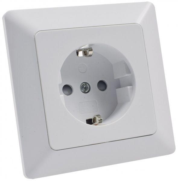 MILOS Schutzkontakt-Steckdose, weiß matt 250V~/ 16A, inkl. Rahmen, Klemmanschluss