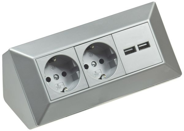 2-fach Steckdosenblock + 2x USB, silber 250V~/ 16A, Aufbaumontage