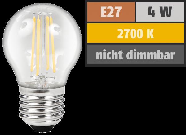 LED Filament Tropfenlampe McShine Filed, E27, 4W, 470lm, warmweiß, klar