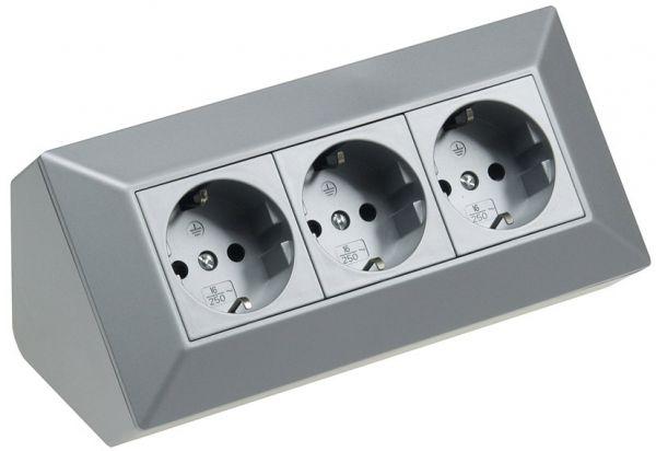 3-fach Steckdosenblock, silber 250V~/ 16A, Aufbaumontage