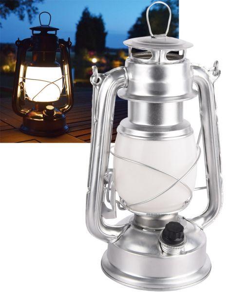 "LED Camping Laterne ""CT-CL Silver"" ØxH 12x23,5cm, 4x AA, warmweiß, dimmbar"