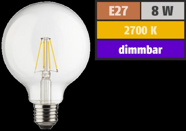 LED Filament Globelampe, E27, 8W, 1055lm, 2700K, warmweiß, dimmbar